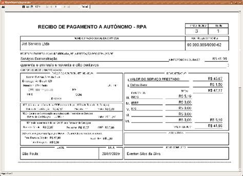 calculo do inss de autonomo programa rpa expresso recibo pagamento a aut 244 nomo inss