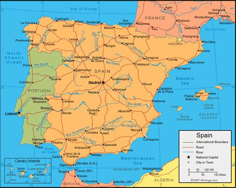 espana map spain map and satellite image