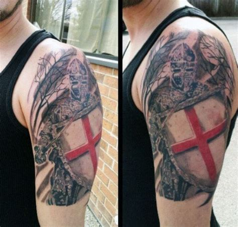 medieval cross tattoo with heraldy tattoos on arm tattoos