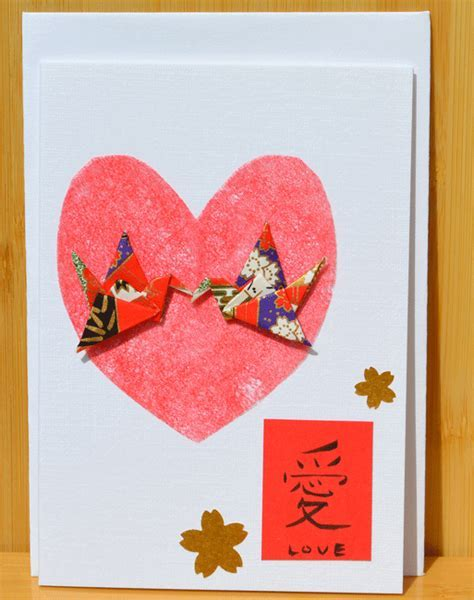 Greetings card Handmade Summer Love calligraphy & Cranes