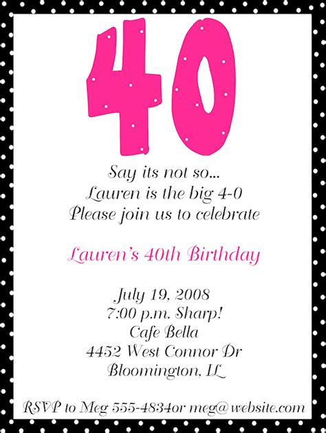 40th invitation templates 40th birthday invitations