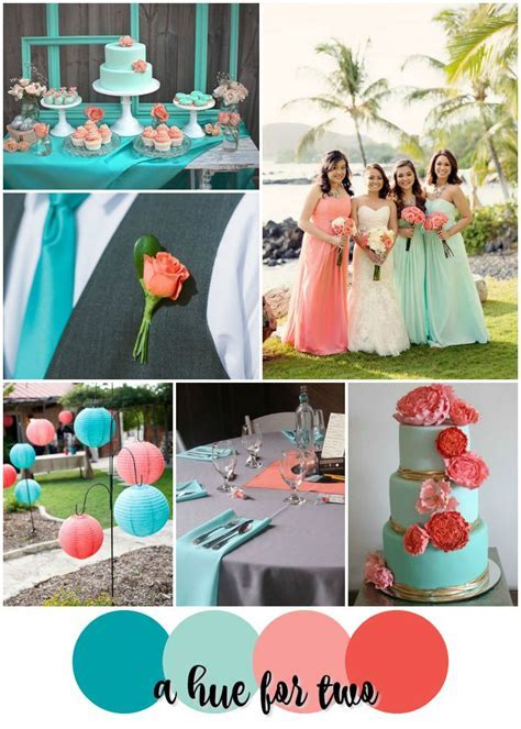 Teal, Mint, Peach and Coral Tropical Wedding Color Scheme