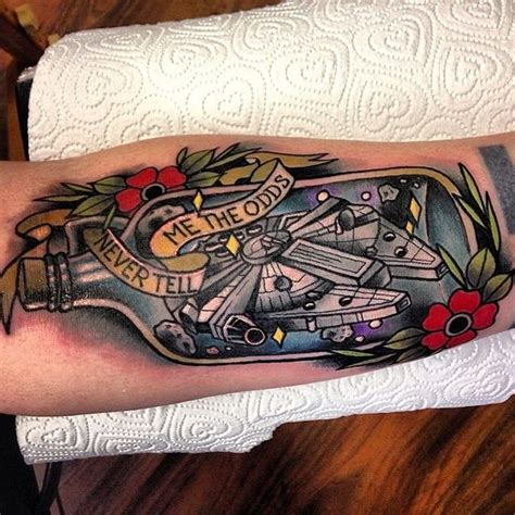 millenium tattoo wars millennium falcon by polly sands at five