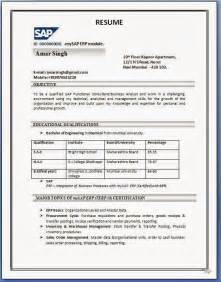 Resume Format Pdf by Sap Sd Resume Format