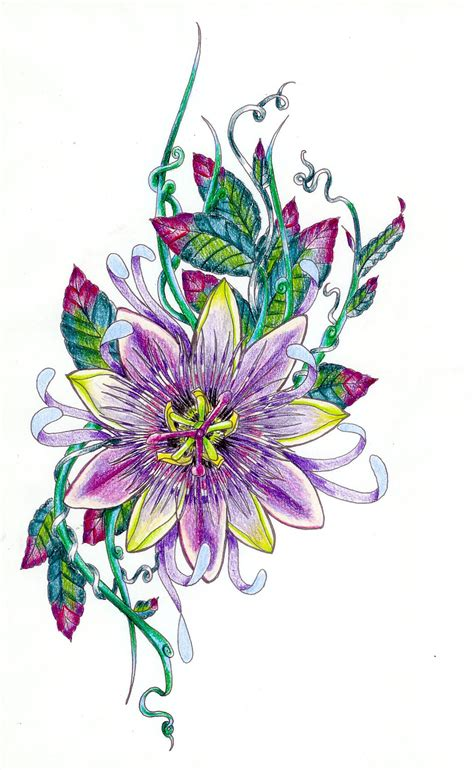 passion flower tattoo flower sketch rhatbeould be great if the leaves