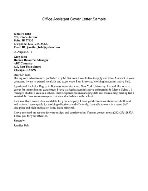 office assistant cover letter exles sle resume cover letter office assistant