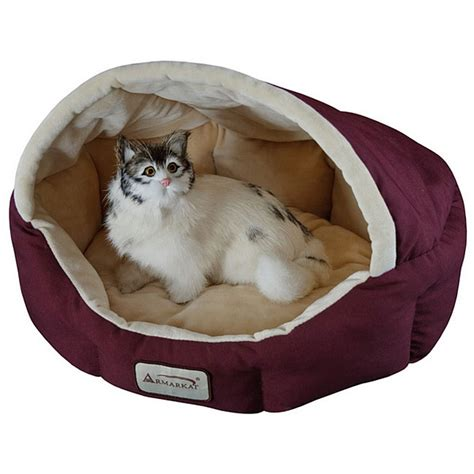 small dog beds 18 inch burgundy beige small dog cat bed by armarkat