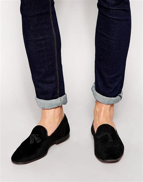 mens velvet tassel loafers lyst asos tassel loafers in black velvet with floral