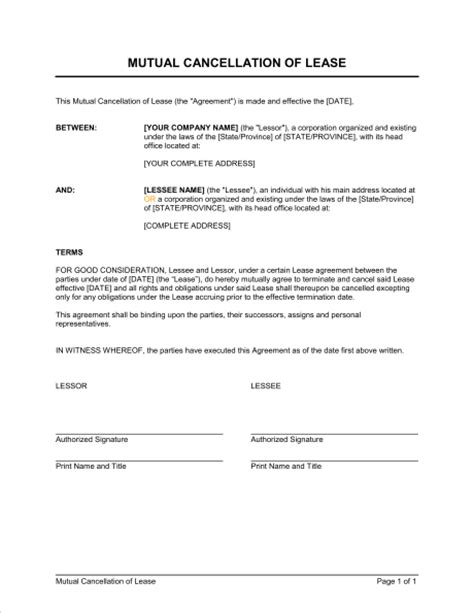 Termination Of Rental Agreement Letter Ontario Cancellation Of Lease Template Sle Form Biztree