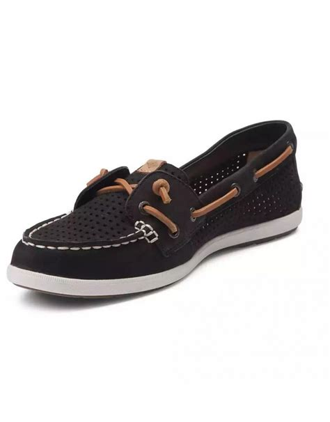 sperry womens shoes clearance sperry coil black perforated leather boat shoe