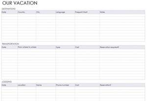 planning a trip template vacation itinerary planner vacation itinerary planner