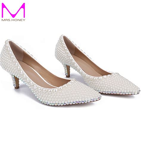 Kitten Heel Wedding Shoes by Kitten Heel Shoes Wedding Handmade Pearl Wedding Shoes