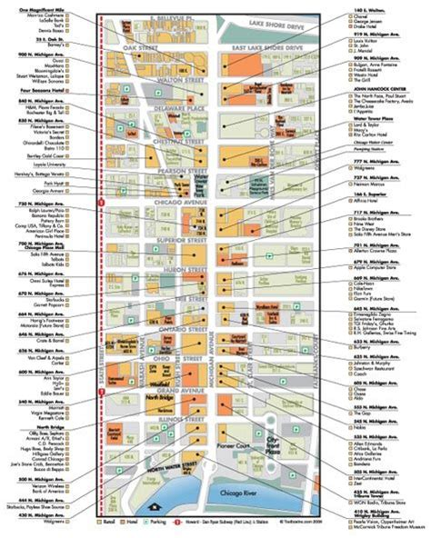 printable list of things to do in chicago map of shops magnificent mile chicago 2014 pinterest
