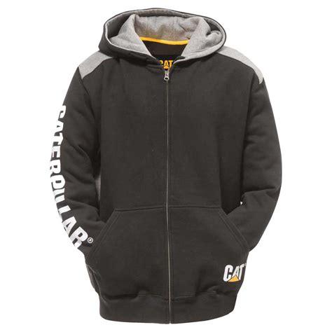 caterpillar black logo panel zip hooded sweatshirt
