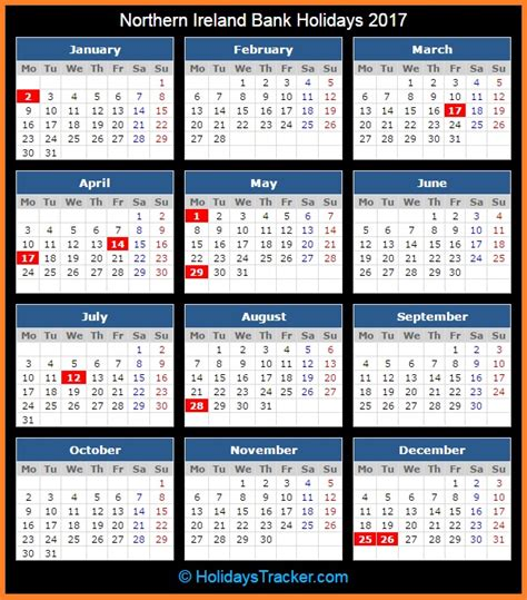 printable calendar ireland 2017 northern ireland bank uk holidays 2017 holidays tracker