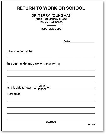 return to work slip template office pads smartpractice