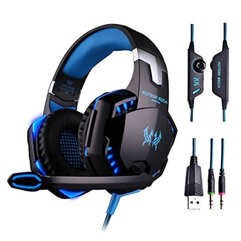 Headset Gaming Kotion Each G2000 3 5mm With Led free shipping kotion each g2000 3 5mm pc stereo gaming headset with in line mic ear fit