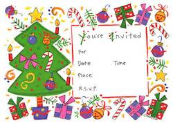 Kids holiday themed christmas party invitations