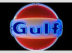 Amazing 1950s-60s Gulf Oil single-sided porcelain service sta Insurance Auto Auctions