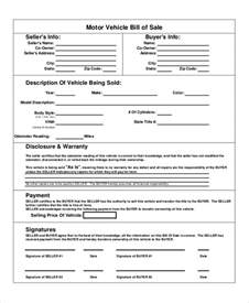 Bill Of Sale Template As Is by Sle Bill Of Sale For Vehicle 8 Exles In Word Pdf