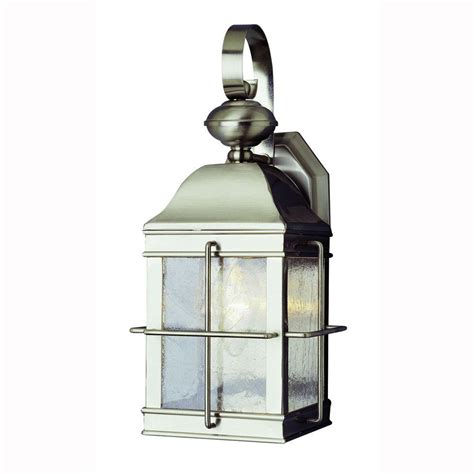Brushed Nickel Outdoor Light Bel Air Lighting 1 Light Brushed Nickel Outdoor Wall Coach Lantern With Seeded Glass 4632 Bn