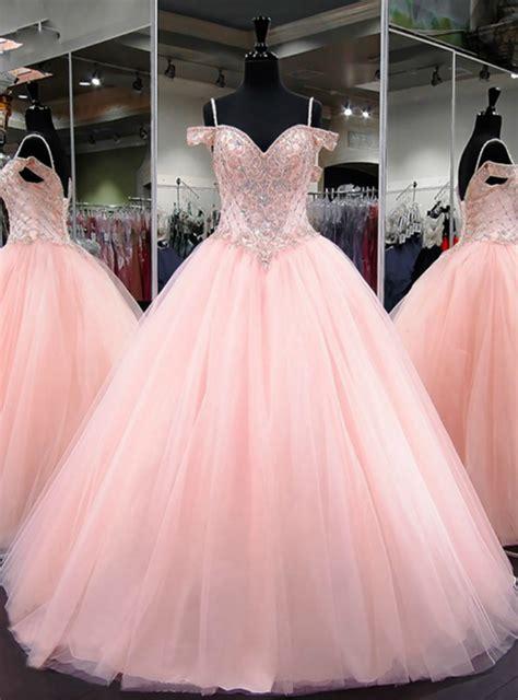 ball gown cap sleeve sweet  light pink beaded