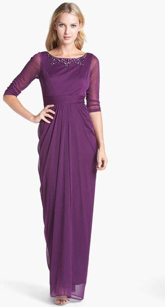 adrianna papell embellished draped mesh gown adrianna papell embellished draped mesh gown in purple