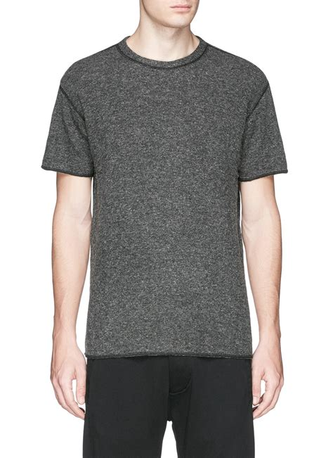 knit t shirt nlst contrast seam knit t shirt in gray for lyst