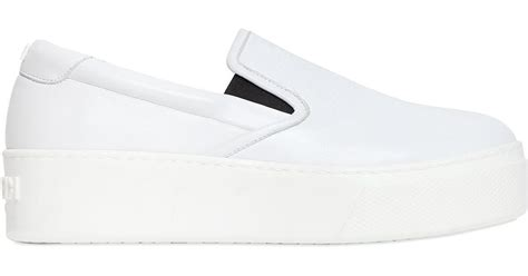 white leather slip on sneakers kenzo 40mm leather slip on platform sneakers in white lyst
