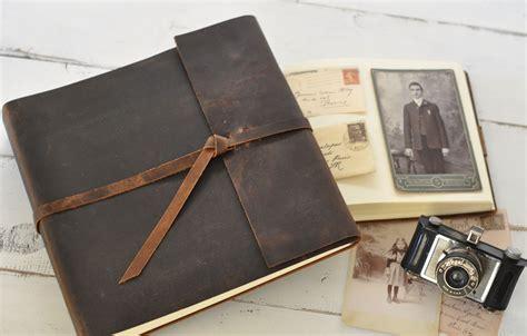 Handmade Leather Photo Album - leather rustic album distressed custom design by blue
