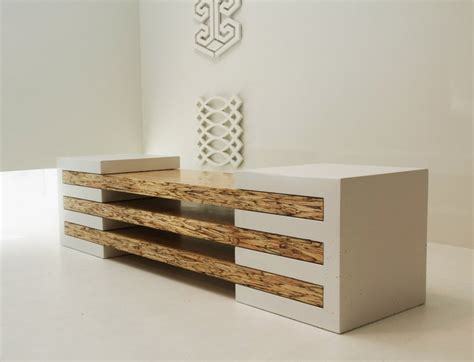 designer furniture contemporary bench in concrete and wood combination