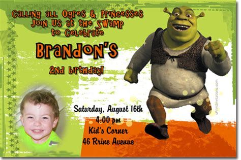 Shrek Birthday Card Shrek Birthday Invitations And Party Supplies