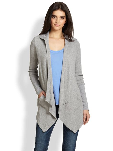 grey draped cardigan splendid draped hooded thermal cardigan in gray heather