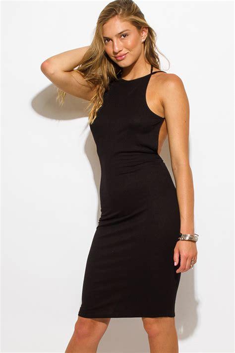 Dress D1988 shop wholesale womens black ribbed knit strappy halter