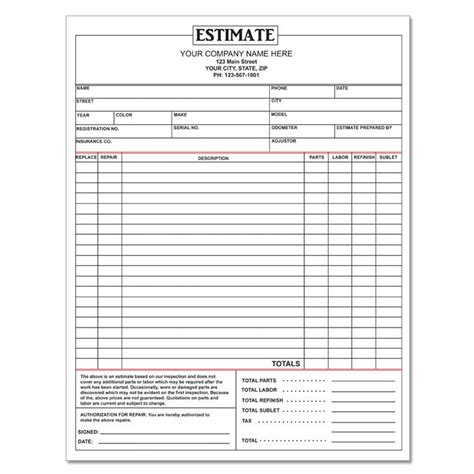 auto estimate repair order form