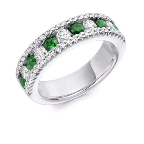 18 carat white gold emerald half eternity ring
