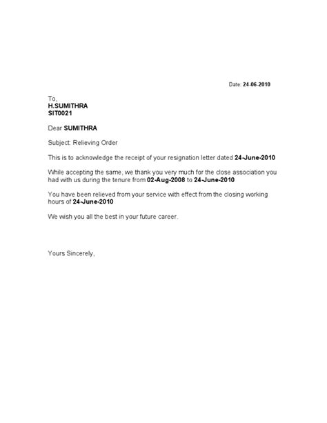 Resignation Acceptance Relieving Letter Format Format Of Relieving Letter
