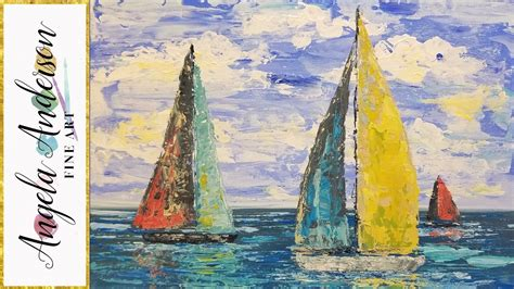 sailboat easy simple sailboat seascape acrylic painting tutorial using