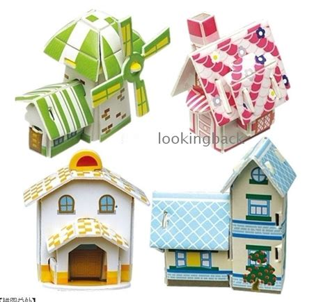 How To Make A Small Paper House - diy house 4 small houses 3d puzzle 3d paper model