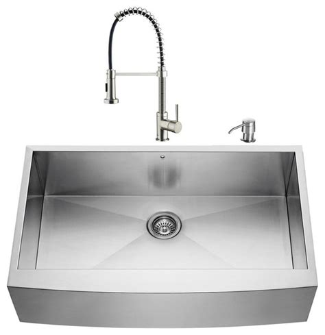 Kitchen Sinks Houzz Shop Houzz Vigo Industries Vigo Farmhouse Stainless Steel Kitchen Sink And Faucet Set