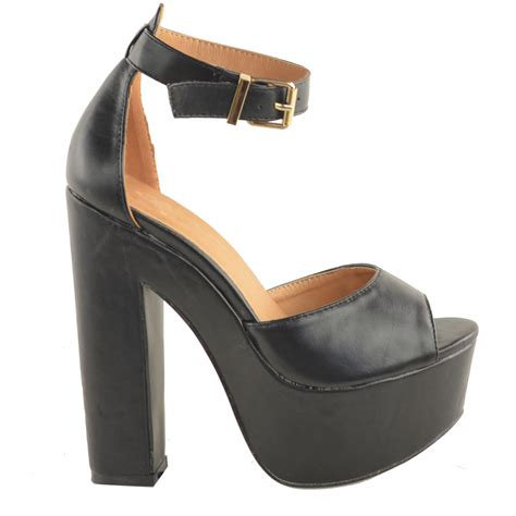 chunky heels sandals new womens ankle platform chunky high heel
