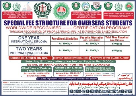 Lahore Business School Mba Fee Structure by Fee Structure Foreign The Miim Islamabad