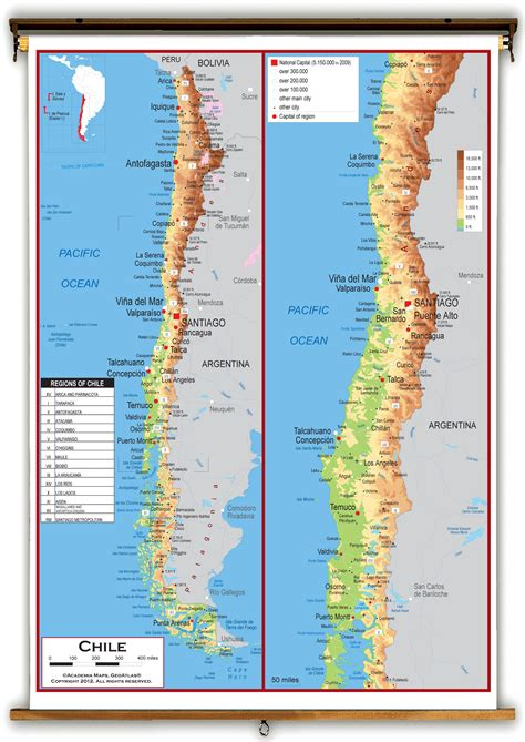 physical map of chile topographic map of chile