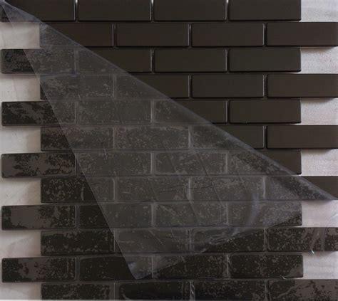 subway strip black color stainless steel metal mosaic