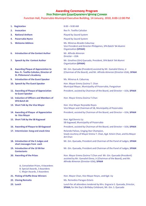 awards program template best photos of awards ceremony program template award