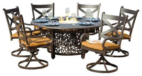 pit dining table with chairs avondale 6 person cast aluminum patio dining set with