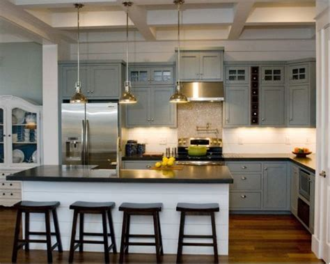 White Cabinets Concrete Countertops by Grey Cabinets And Dark Counters Houzz