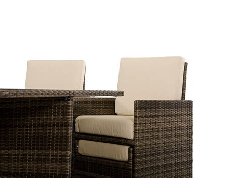 fold out armchair barcelona square compact table w 4 fold out chairs and 4 individual ottoman patio set