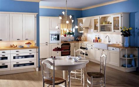 country styled kitchen decorating ideas with soft blue wall color and rustic white kitchen