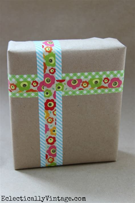 Decorative Gift Wrap - 5 simple washi tape ideas at eclectically vintage